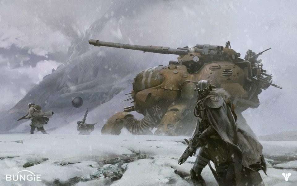 Destiny: masked soldiers on a snowy tundra
