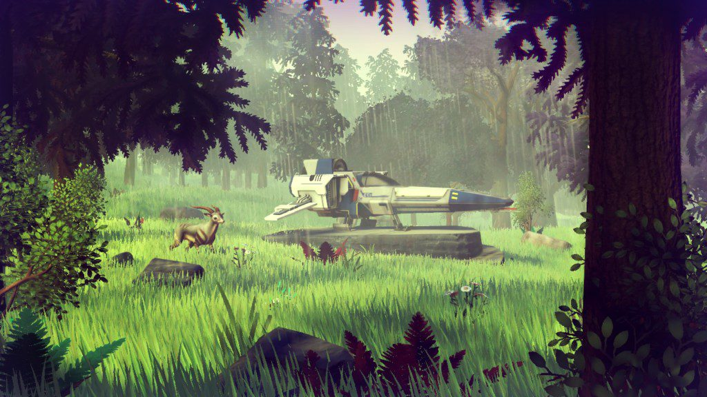 No Man's Sky: a spaceship parked in a grassy field