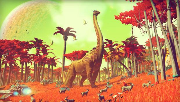No Man's Sky: alien landscape with a dinosaur-like creature