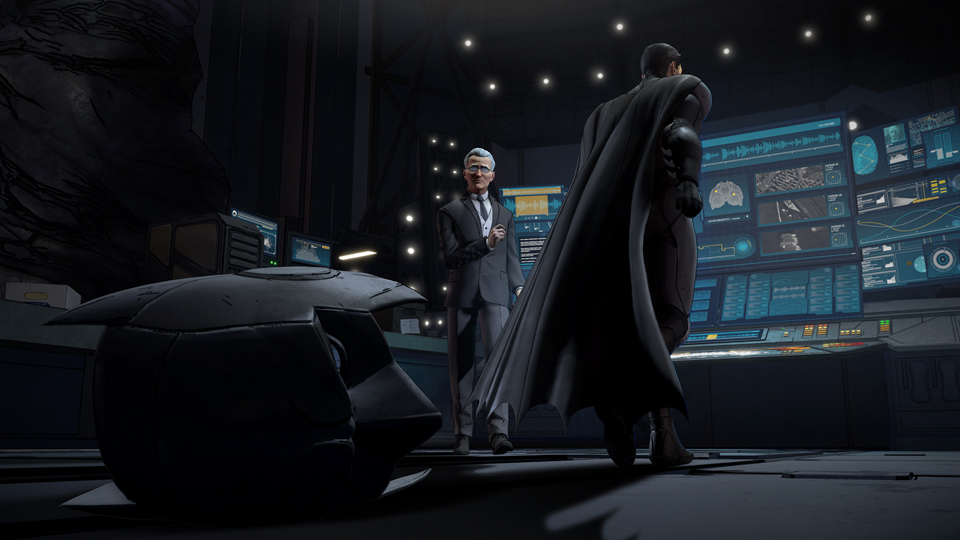Batman: Realm of Shadows: Batman's cowl on the floor of the batcave, with angry batman in the background