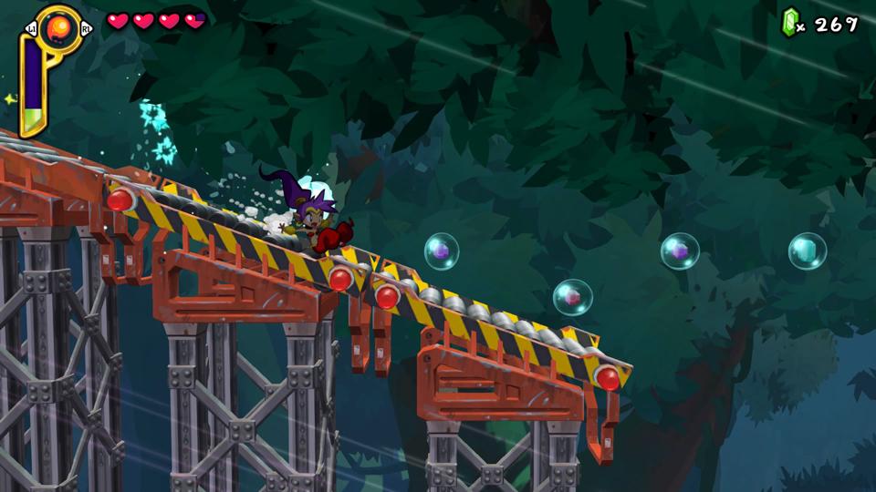 Shantae: Half-Genie Hero: sliding down the escape chute in Mermaid Falls