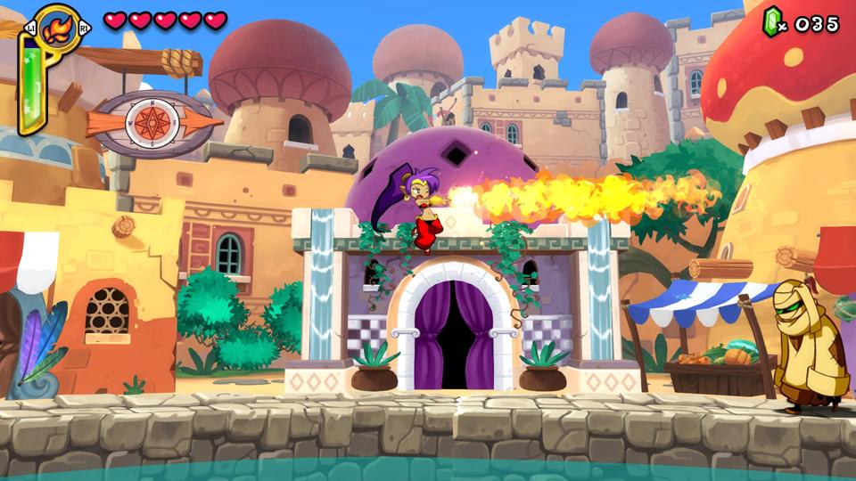 Shantae: Half-Genie Hero - Shantae casting a fire spell