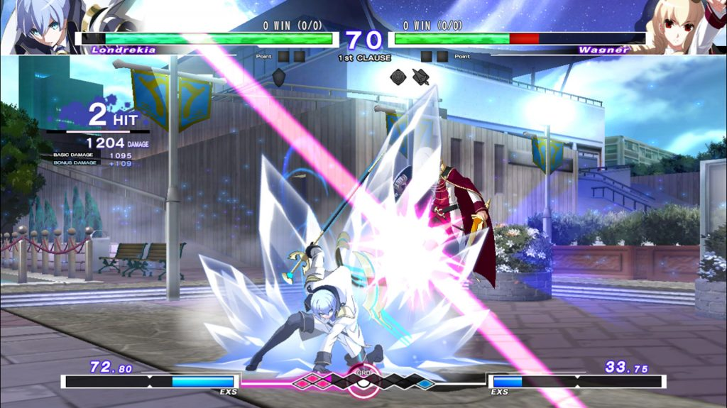 A screenshot from Under Night In-Birth Exe:Late[cl-r], showing Londrekia fighting against Wagner