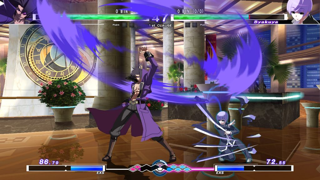 A screenshot from Under Night In-Birth Exe:Late[cl-r], showing Gordeau fighting against Byakuya
