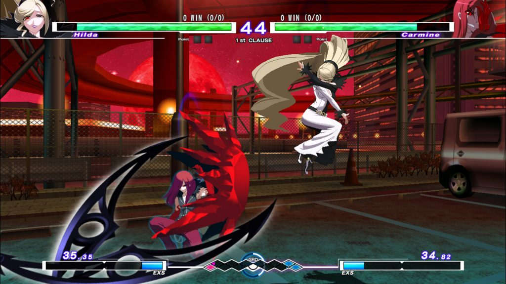 A screenshot from Under Night In-Birth Exe:Late[cl-r], showing Hilda fighting against Carmine