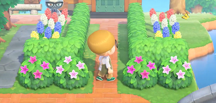 Screenshot for from the trailer for the new Animal Crossing: New Horizons update, showing a player planting a flowering shrub