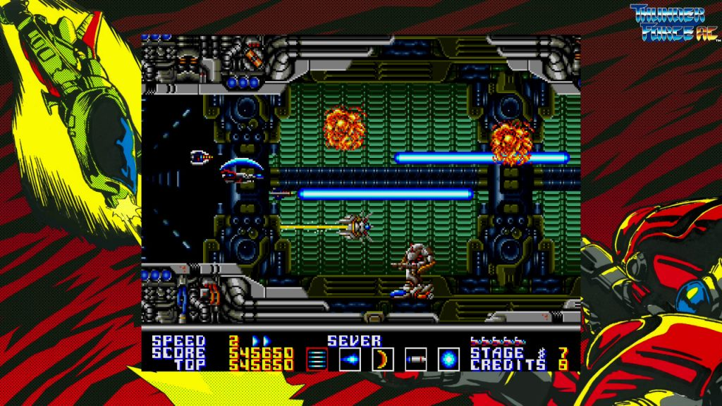 A screenshot from SEGA AGES Thunder Force AC, showing the game being played in a window surrounded by artwork