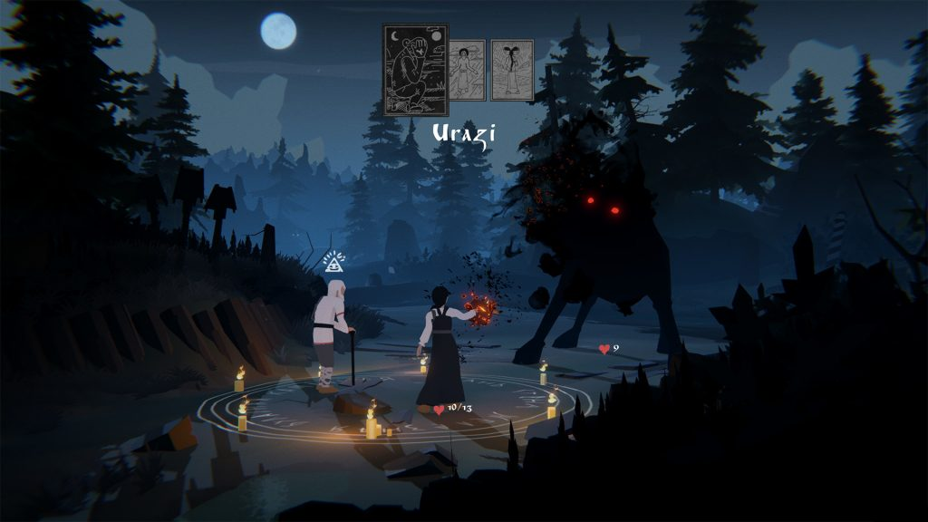 A screenshot from Black Book, showing Vasilisa and a companion fighting a wolf-like demon