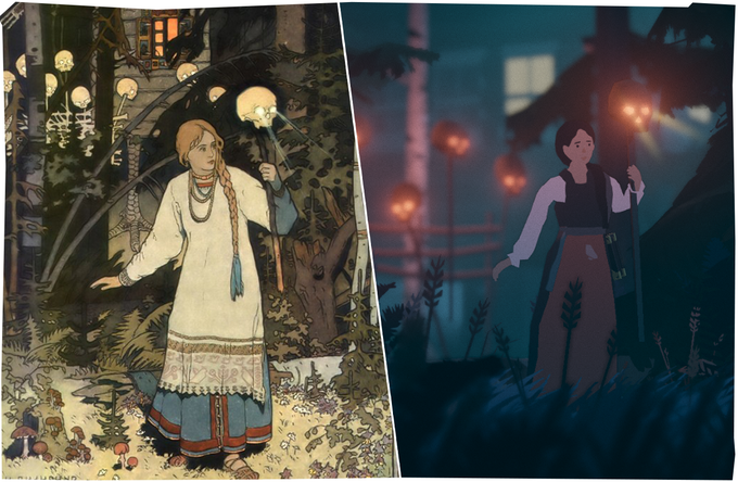 """An image from Black Book's Kickstarter campaign, comparing Ivan Bilibin's 1899 painting """"Vasilisa the Beautiful"""" with a picture of Vasilisa, the main character in Black Book"""