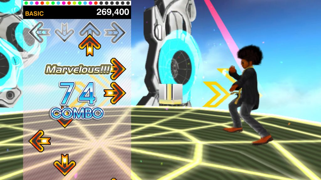 A screenshot from the browser-based Dance Dance Revolution V, showing the game in action.