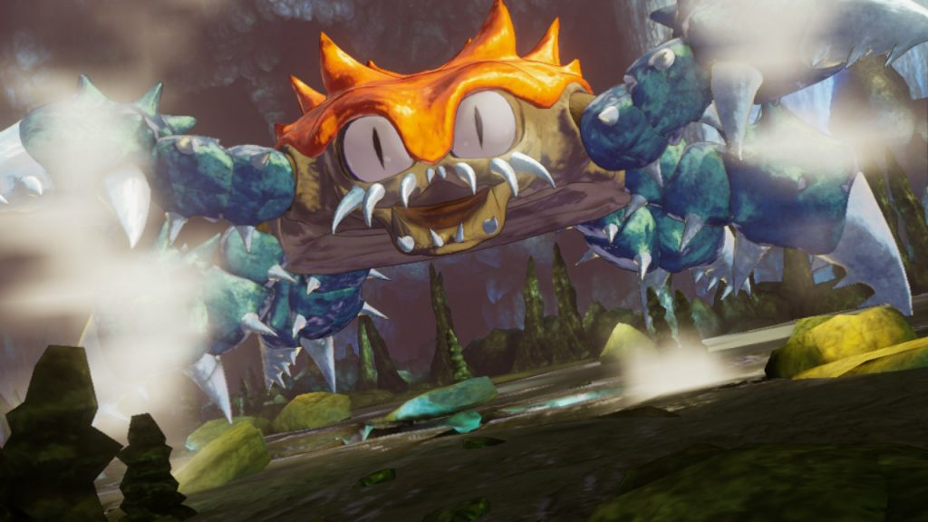 A screenshot from Trials of Mana, showing the crab-like Fullmetal Hugger enemy.