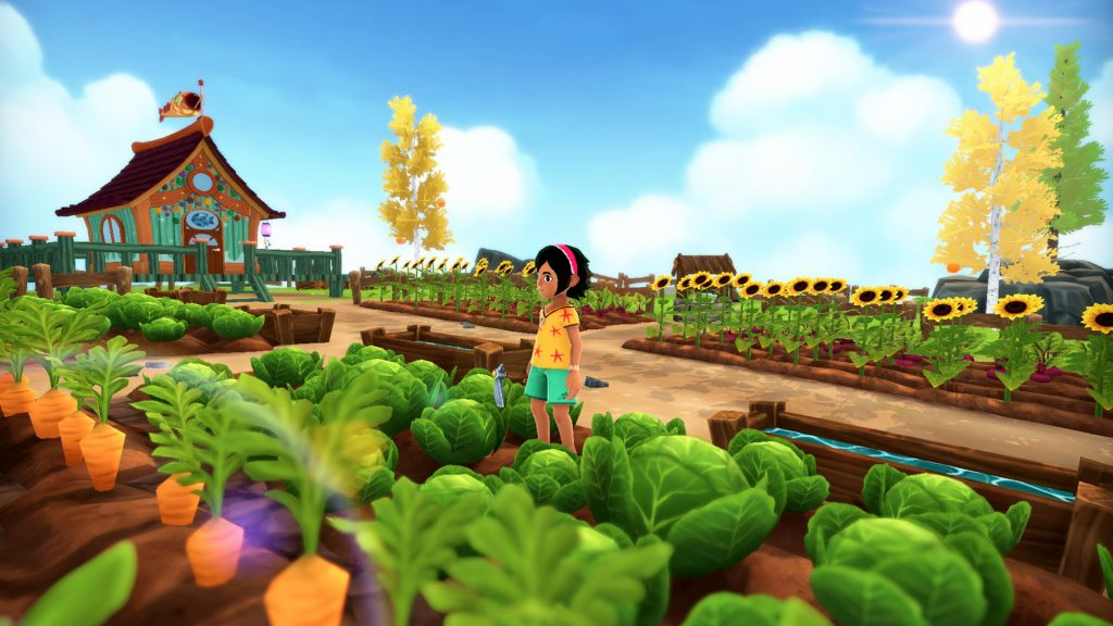A screenshot from Summer in Mara, showing Koa farming.