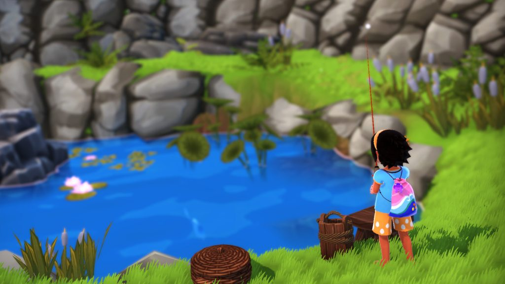A screenshot from Summer in Mara, showing Koa fishing.