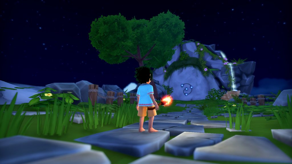 A screenshot from Summer in Mara, showing Koa approaching a monument with a spiral emblem on it.