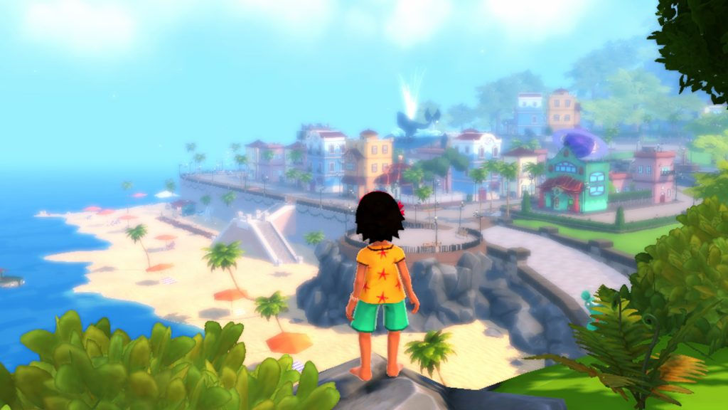A screenshot from Summer in Mara, showing Koa looking out over a city.