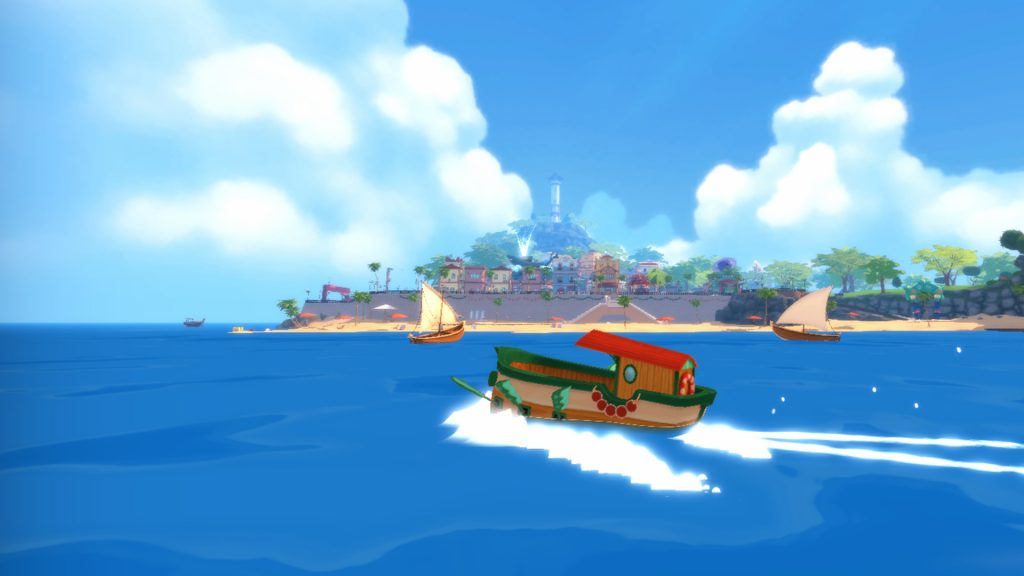A screenshot from Summer in Mara, showing Koa's boat sailing past an island city.