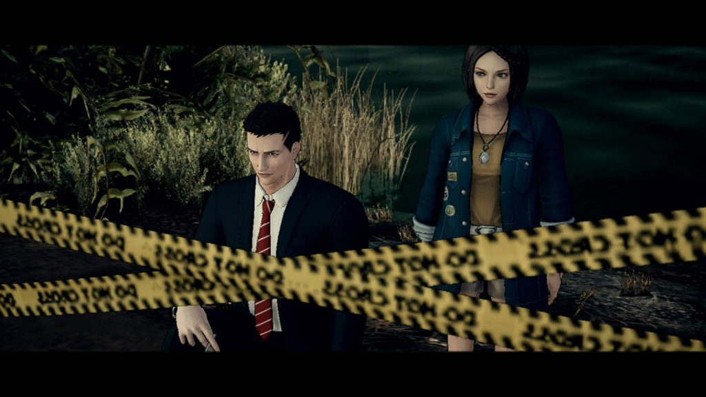 "A screenshot from Deadly Premonition 2, showing York and Patti standing by a crime scene in a swamp, next to yellow ""do not cross"" tape"