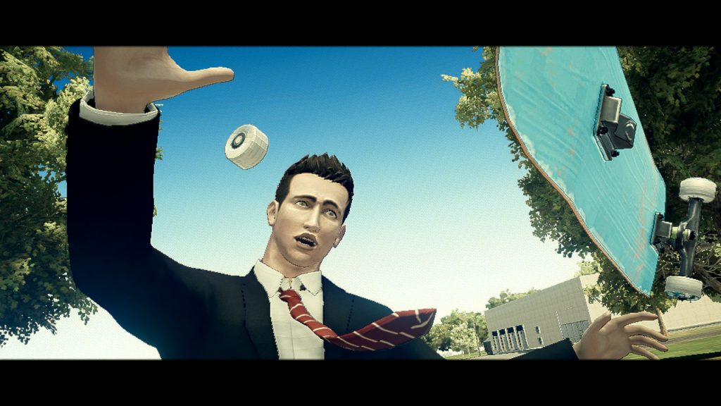 A screenshot from Deadly Premonition 2, showing a close up of York's face as he falls off his skateboard.
