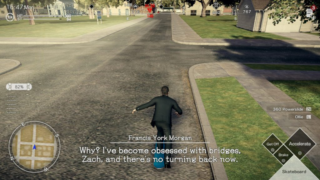 "A screenshot from Deadly Premonition 2, showing York skateboarding along a quiet suburban street. A dialogue caption reads, ""Why? I've become obsessed with bridges, Zach, and there's no turning back now."""