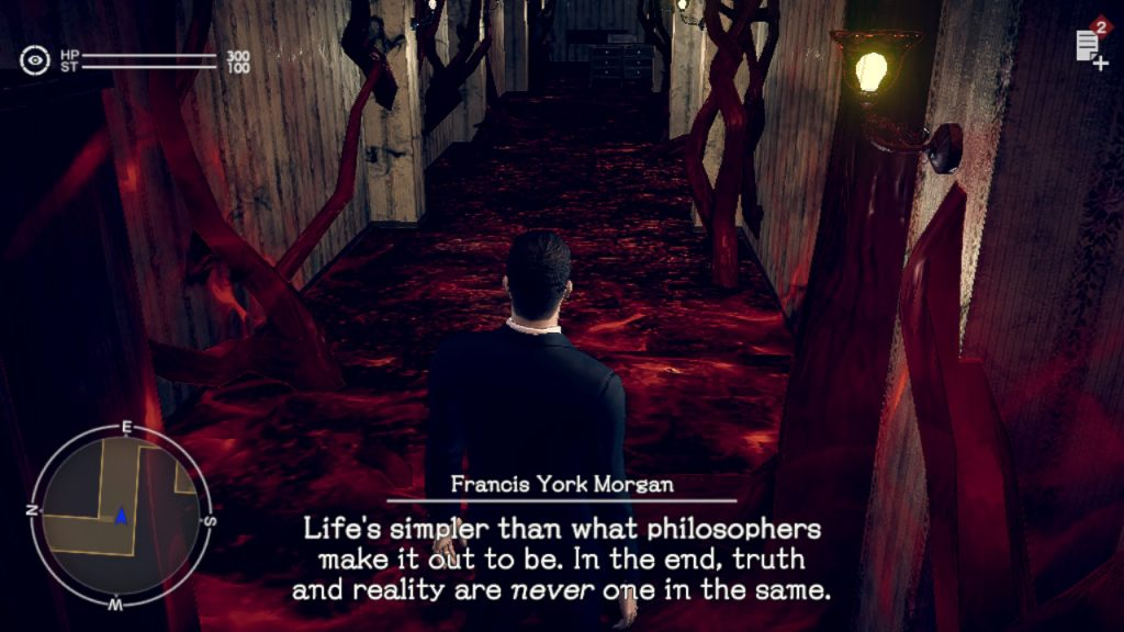 "A screenshot from Deadly Premonition 2, showing York investigating an otherworld scene with lots of strange red matter everywhere. Captions of dialogue read ""Life's simpler than what philosophers make it out to be. In the end, truth and reality are never one in the same."""