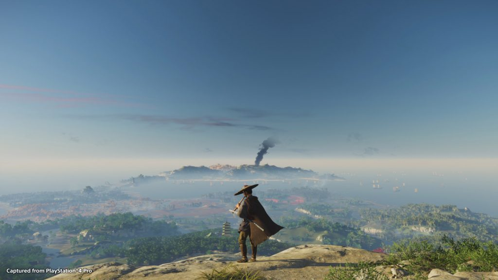 A screenshot from Ghost of Tsushima showing a samurai looking out from a clifftop while playing a flute