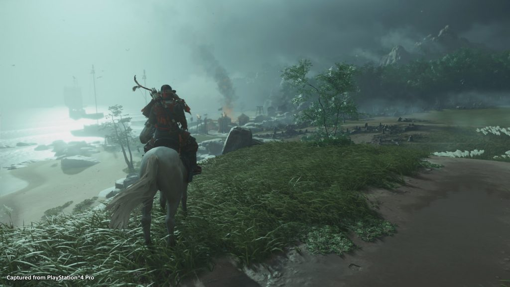 A screenshot from Ghost of Tsushima showing a character on horseback looking out over a battlefield