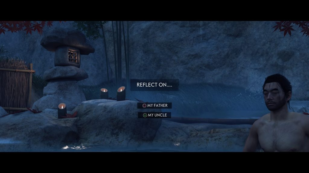 "A screenshot from Ghost of Tsushima showing a man bathing in a hot spring. A text box says ""Reflect on..."" with two different options, ""My father"" and ""My uncle"""