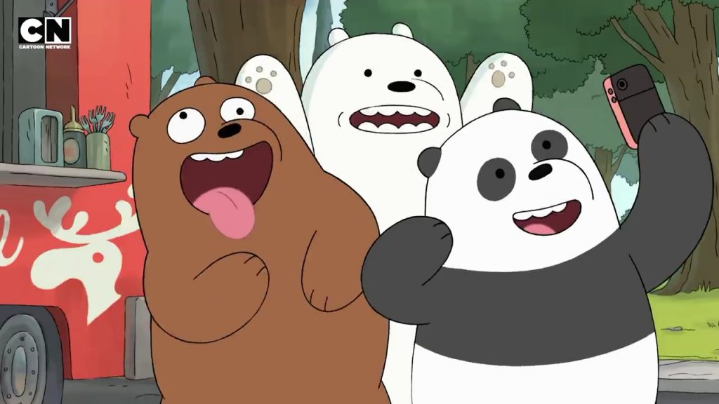 A screenshot from We Bare Bears: The Movie showing Grizz, Panda, and Ice Bear pulling silly faces and taking a selfie together.