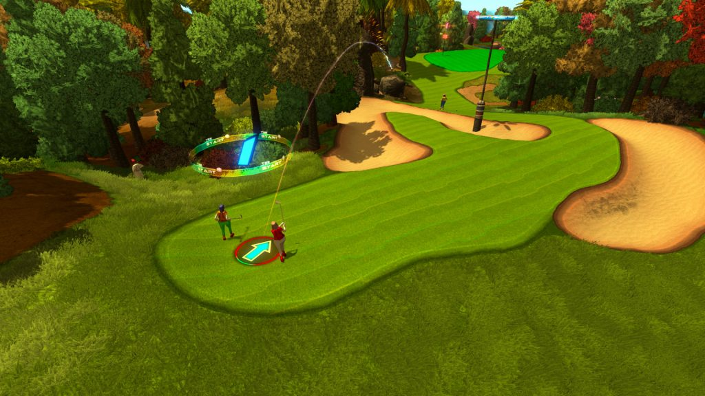 A screenshot from GolfTopia, showing two people playing golf on a fairway surrounded by sand traps.