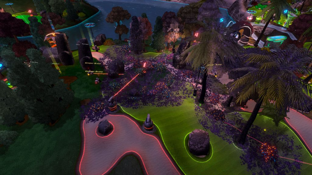 A screenshot from GolfTopia, showing a waterside hole at night, with neon lights lighting up the scenery and different elements of the course