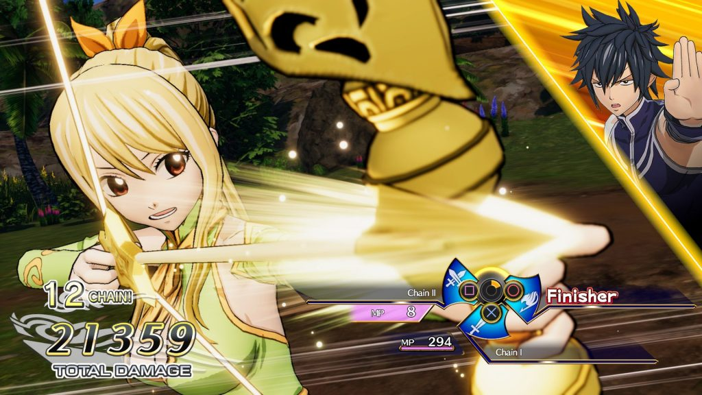 A screenshot from Fairy Tail, showing a character charging up a special move with her bow