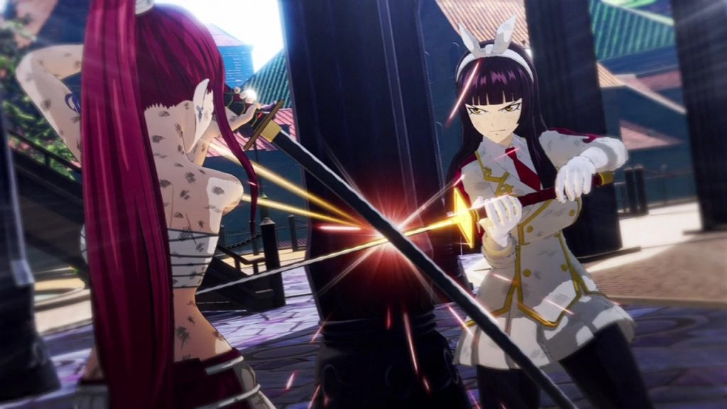 A screenshot from Fairy Tail, showing two characters clashing swords.