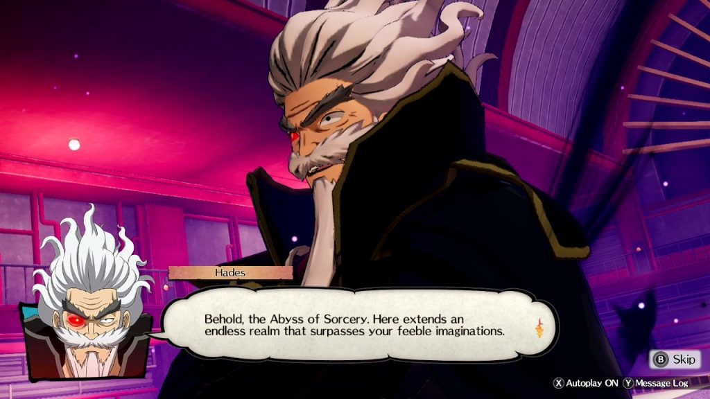 "A screenshot from Fairy Tail, showing a close up of the villain Hades' face, with a dialogue box that reads ""Behold, the Abyss of Sorcery. Here extends an endless realm that surpasses your feeble imaginations."""
