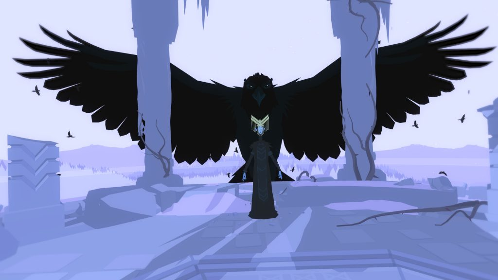 A screenshot from Röki, showing Rorka standing at the edge of a tower with a giant raven behind her.
