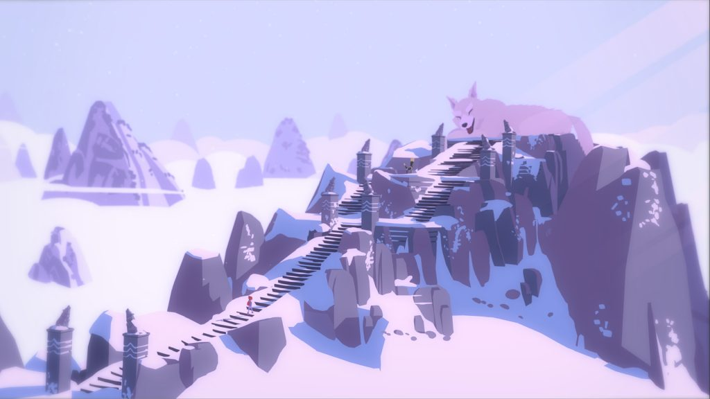A screenshot from Röki, showing Tove climbing a long mountain staircase to reach a giant wolf at the top.