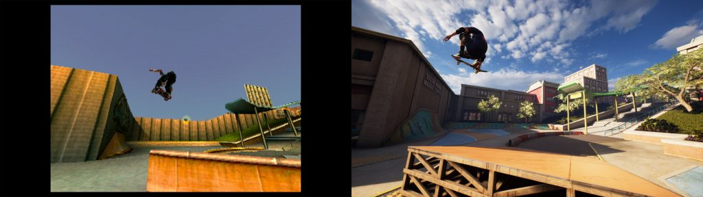 A screenshot from Tony Hawk's Pro Skater 1 + 2 showing a comparison between the original game and remake.