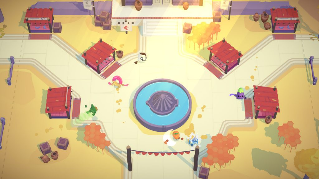 A screenshot from Boomerang Fu, showing a map based on an outdoor market, with lots of food stalls for players to hide behind.