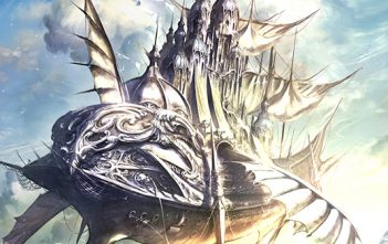 artwork for Saviours of Sapphire Wings, showing a heavily decorated airship flying through a blue sky